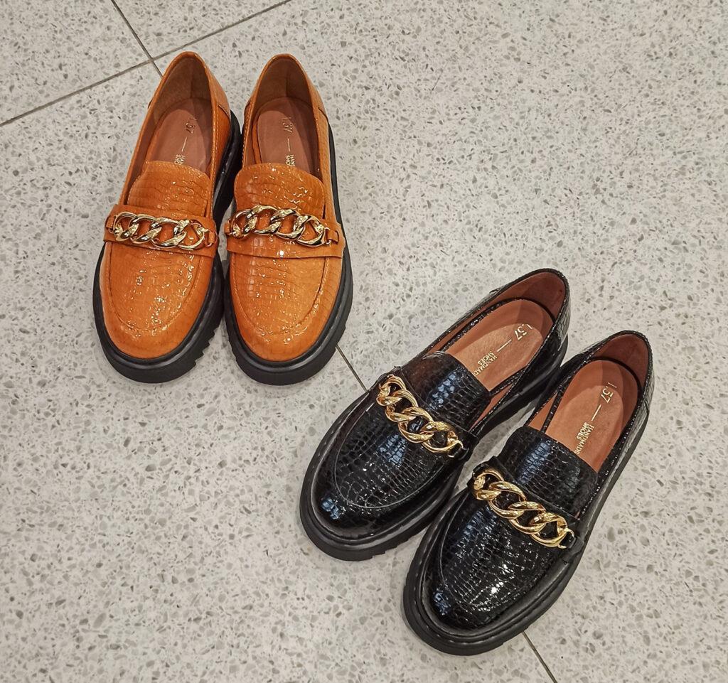 piękne mokasyny, ciekawe buty, oryginalne, derby, pomarańczoew buty, buty wężowy wzór, buty złańcuchem