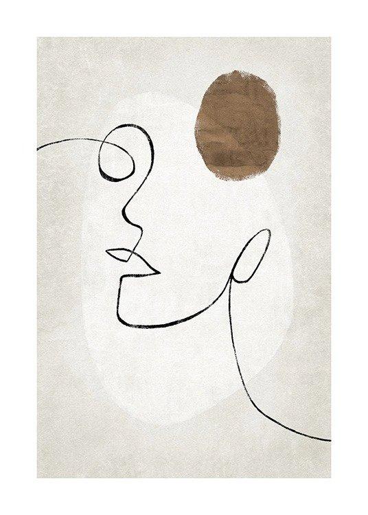 piękny szkic, minimalistyczny portret, piękny plakat, malarstwo