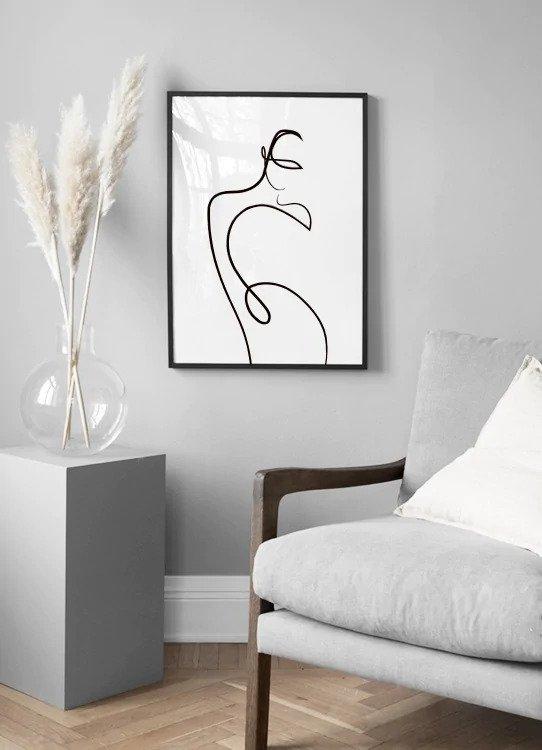 minimalistyczne plakaty, szkic, linia, ciało