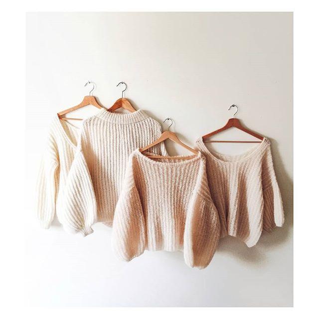 beżowy sweter, piękny sweter, handmade bufiaste rękawy