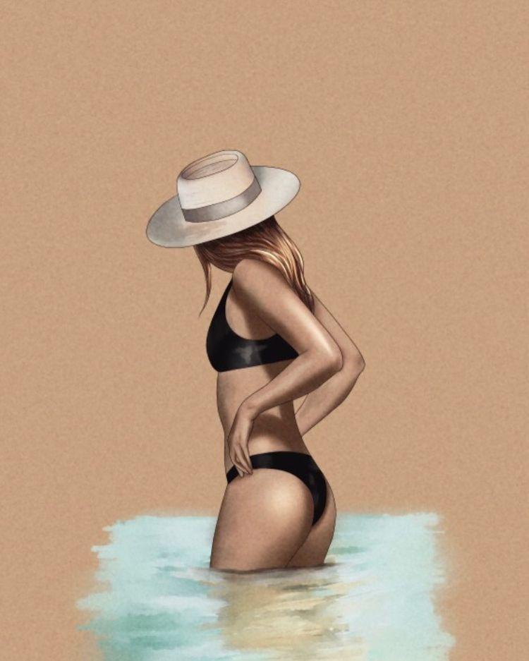 Popette, artystka, art, sztuka, szkic, obraz, malarstwo, surfing, plaża, sporty wodne, opalanie, ciało, kobieta