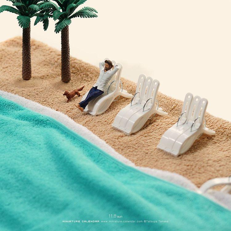 Tatsuya Tanaka, sztuka, art, miniaturowy świat, wyobraźnia, artysta, wystawa, basen, spa, relax