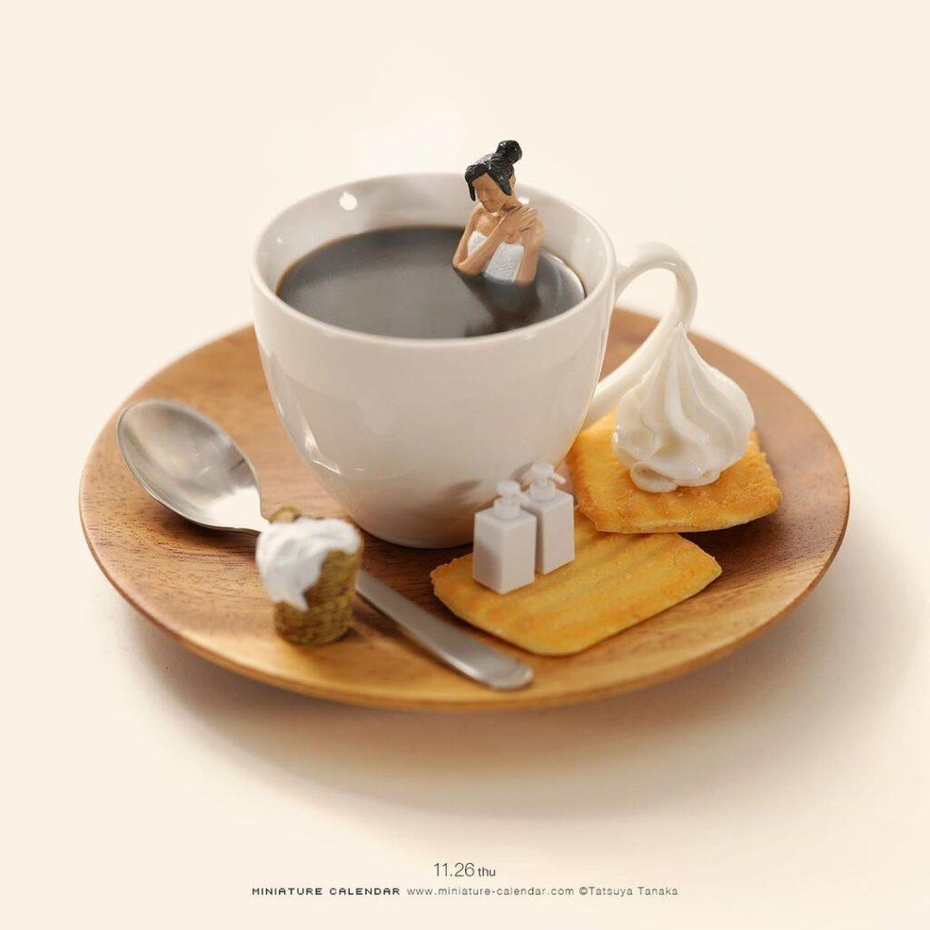 Tatsuya Tanaka, sztuka, art, miniaturowy świat, wyobraźnia, artysta, wystawa, kawa, beza, herbatniki