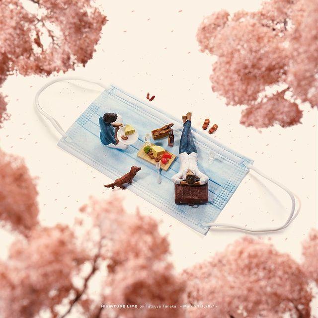Tatsuya Tanaka, sztuka, art, miniaturowy świat, wyobraźnia, artysta, wystawa, maseczka ochronna, maseczka, piknik