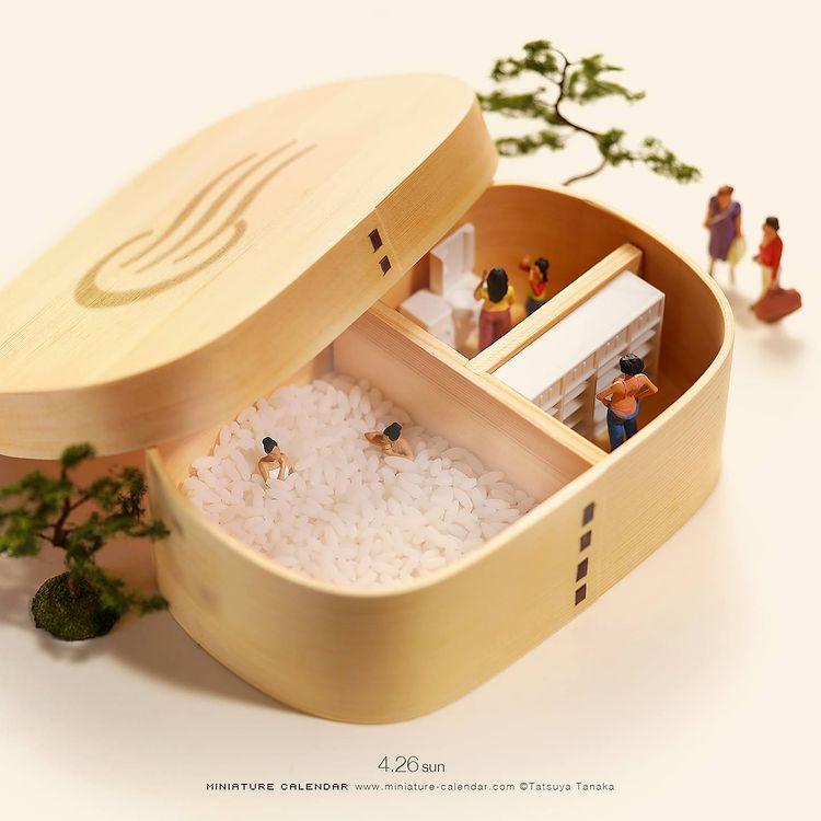 Tatsuya Tanaka, sztuka, art, miniaturowy świat, wyobraźnia, artysta, wystawa, ryż, sushi, jak ugotować ryż nasushi
